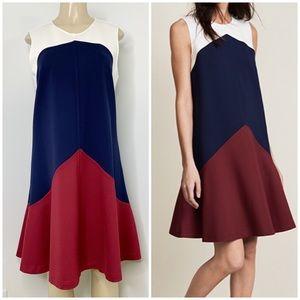 TORY BURCH Willa Navy Colorblock Trapeze Dress L